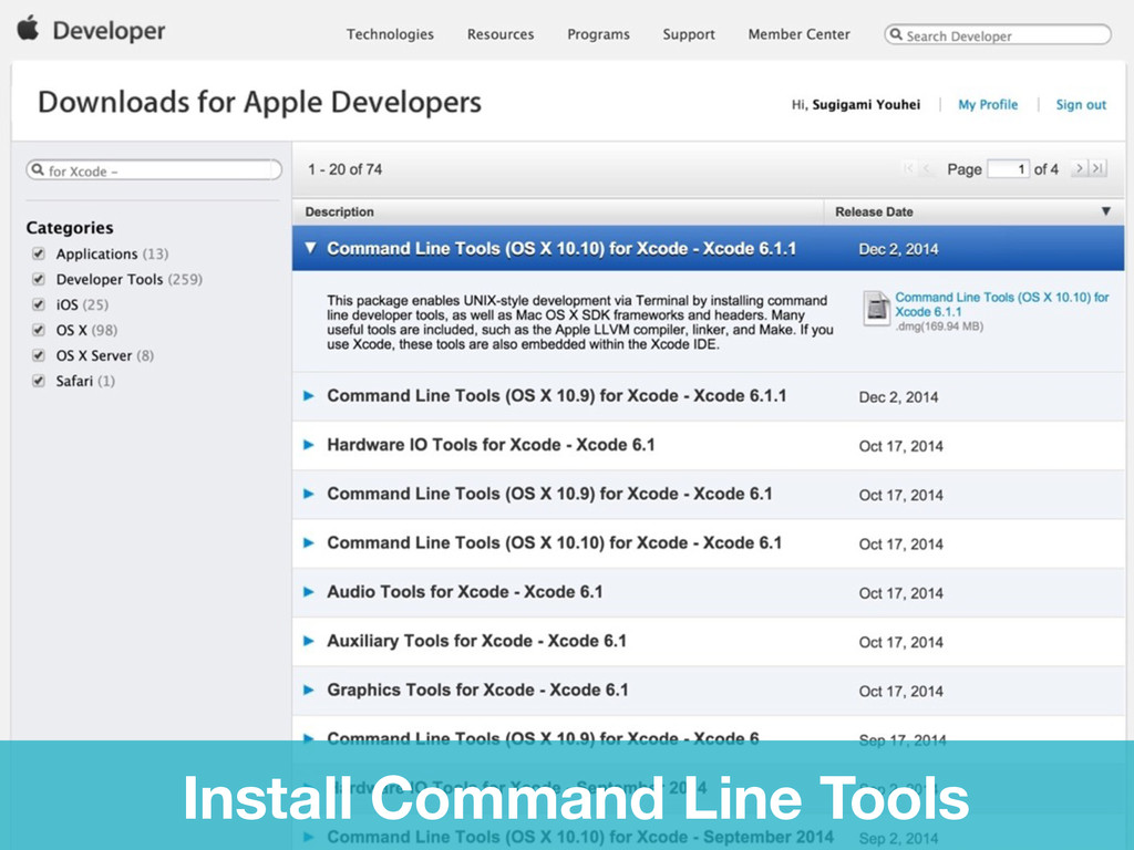 Lets's install Install Command Line Tools