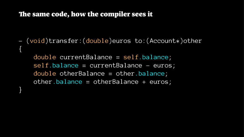 The same code, how the compiler sees it - (void...