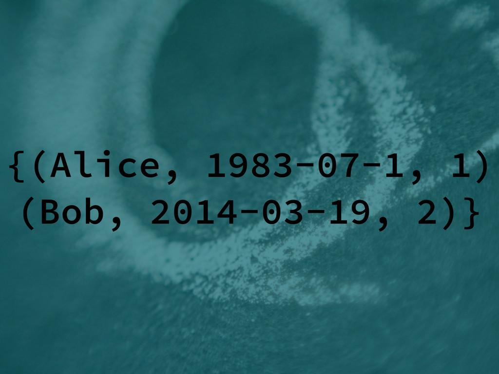 {(Alice, 1983-07-1, 1) (Bob, 2014-03-19, 2)}