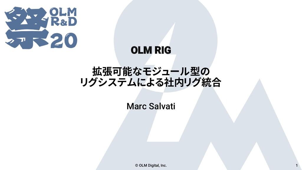 OLM RIG 拡張可能なモジュール型の リグシステムによる社内リグ統合 Marc Salva...