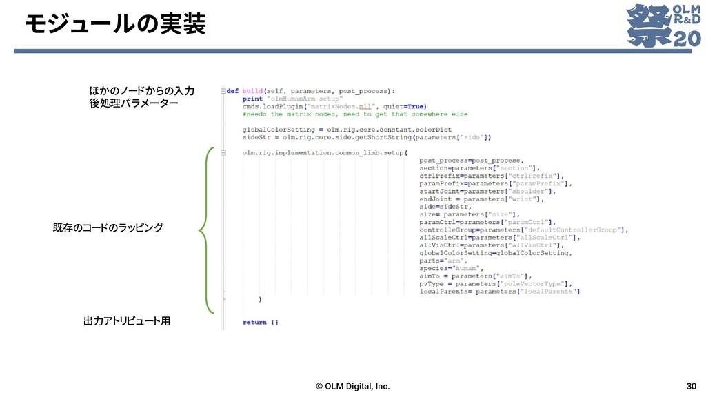 モジュールの実装 © OLM Digital, Inc. 30 既存のコードのラッピング 出力...