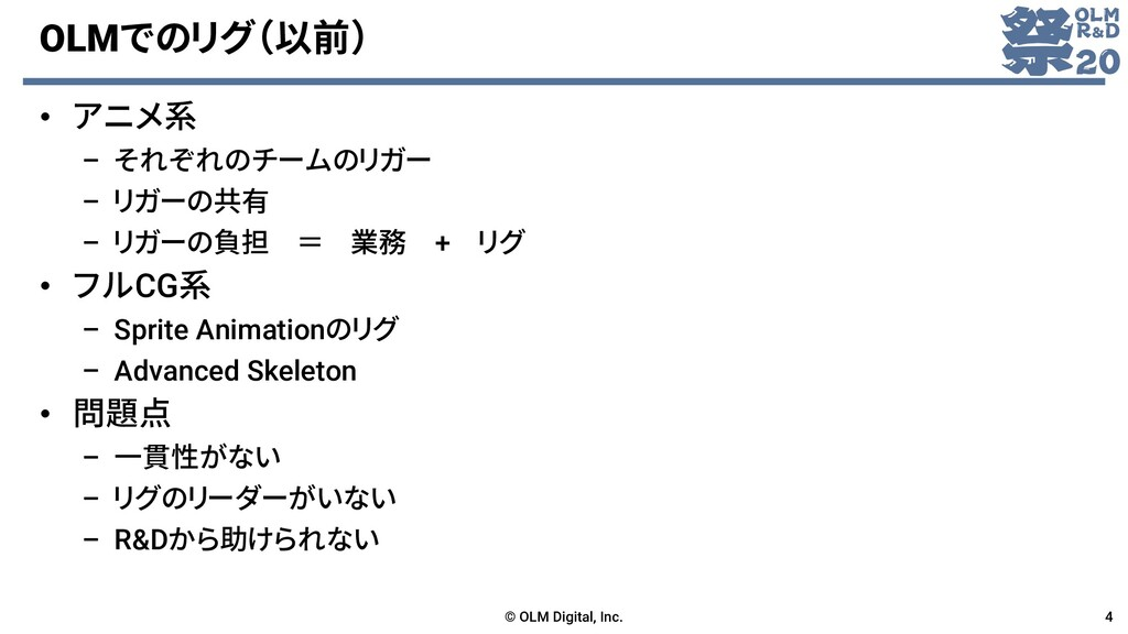 OLMでのリグ(以前) • アニメ系 – それぞれのチームのリガー – リガーの共有 – リガ...