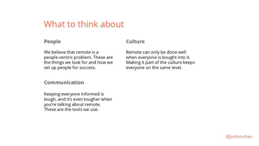 What to think about People We believe that remo...
