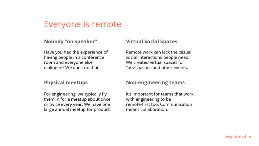"""Everyone is remote Nobody """"on speaker"""" Have you..."""