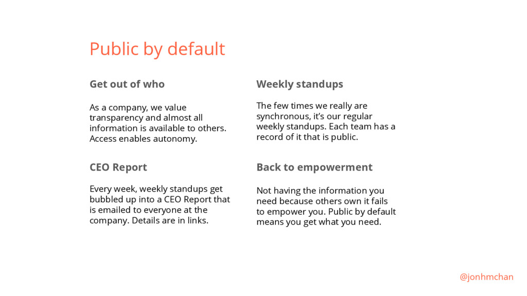 Public by default Get out of who As a company, ...