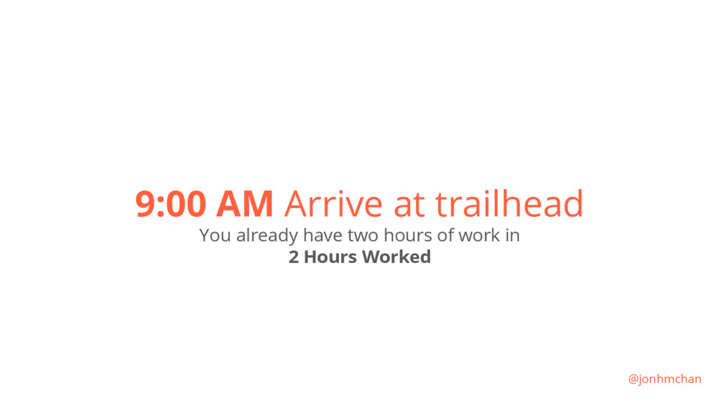 9:00 AM Arrive at trailhead You already have tw...