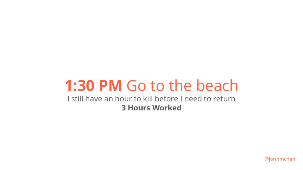 1:30 PM Go to the beach I still have an hour to...