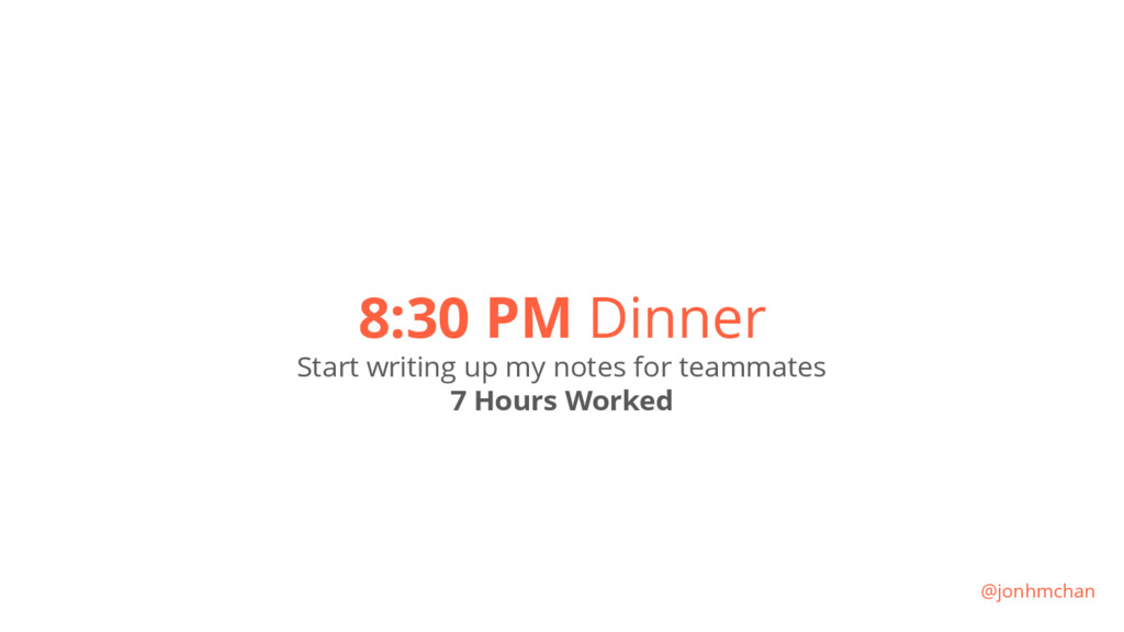 8:30 PM Dinner Start writing up my notes for te...