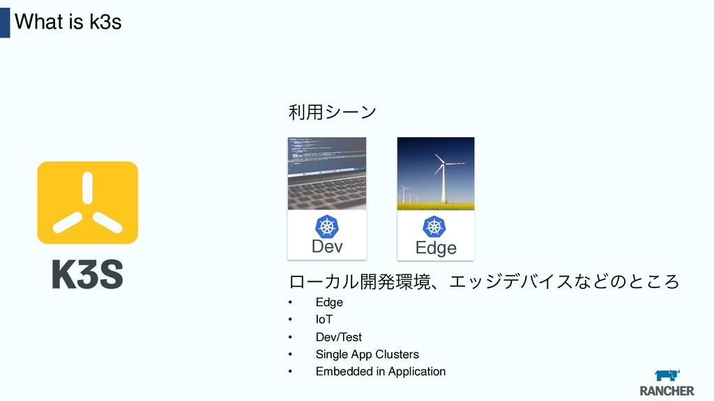 23 What is k3s ར༻γʔϯ Edge Dev ϩʔΧϧ։ൃڥɺΤοδσόΠεͳ...