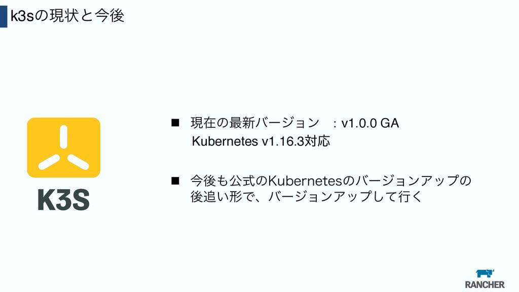 27 k3sͷݱঢ়ͱࠓޙ n ݱࡏͷ࠷৽όʔδϣϯ :v1.0.0 GA Kubernetes...