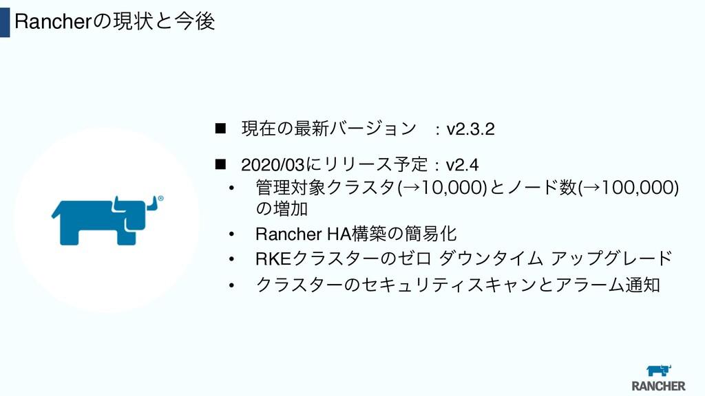 10 Rancherͷݱঢ়ͱࠓޙ n ݱࡏͷ࠷৽όʔδϣϯ :v2.3.2 n 2020/03...
