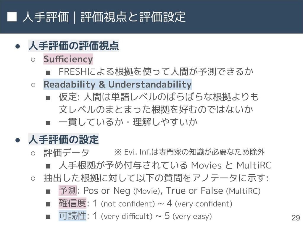 人手評価 | 評価視点と評価設定 29 ● 人手評価の評価視点 ○ Sufficiency ■ F...