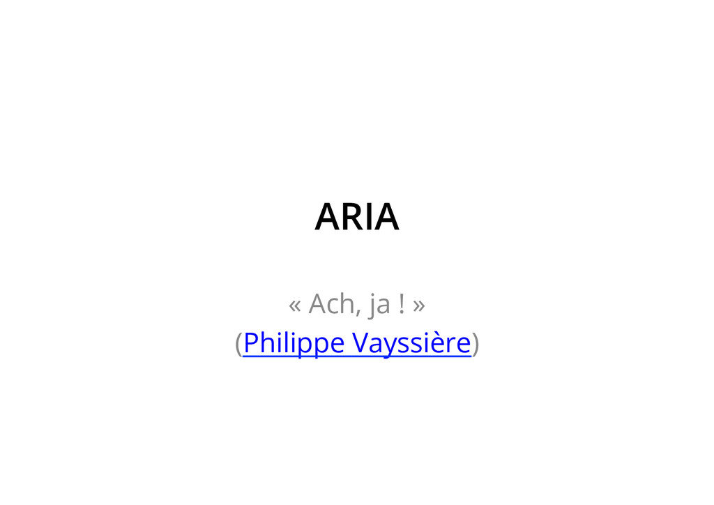 ARIA « Ach, ja ! » (Philippe Vayssière)