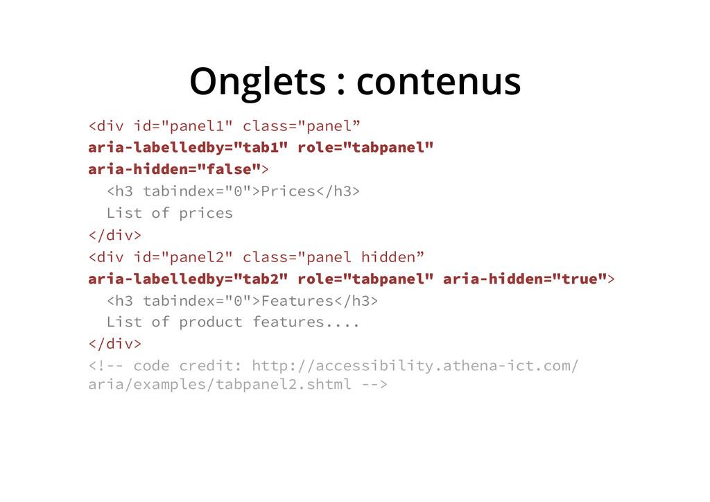 "Onglets : contenus <div id=""panel1"" class=""pane..."