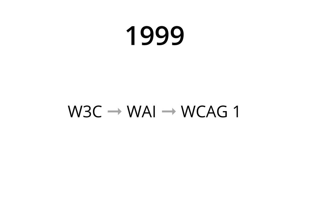 1999 W3C ➞ WAI ➞ WCAG 1