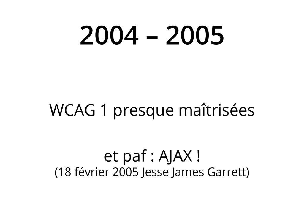 2004 – 2005 WCAG 1 presque maîtrisées et paf : ...