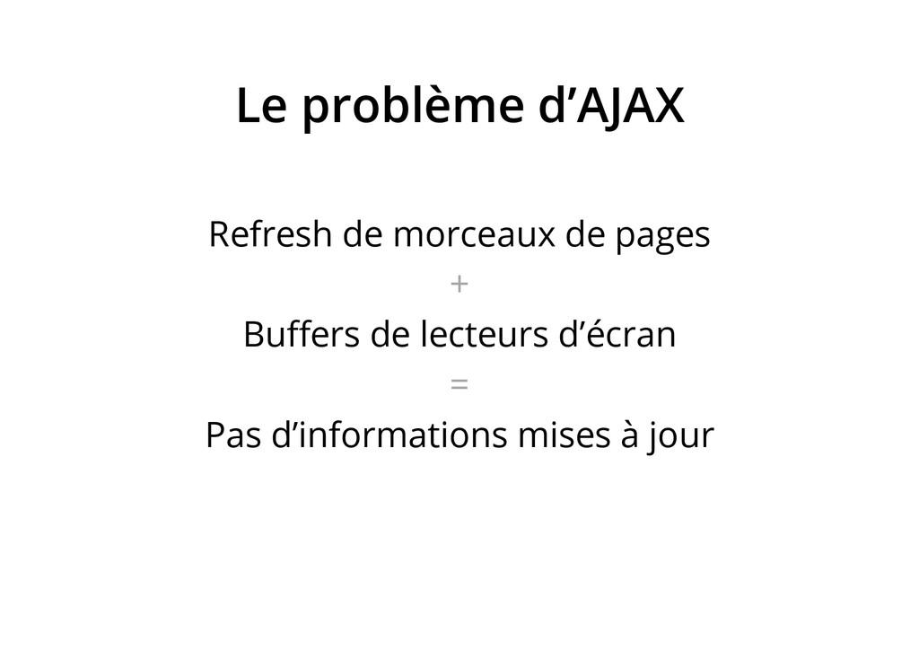Le problème d'AJAX Refresh de morceaux de pages...