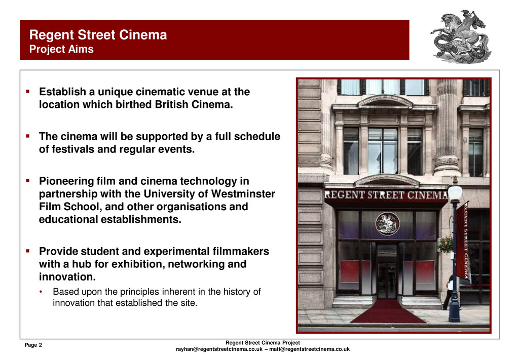 Page 2 Regent Street Cinema Project rayhan@rege...