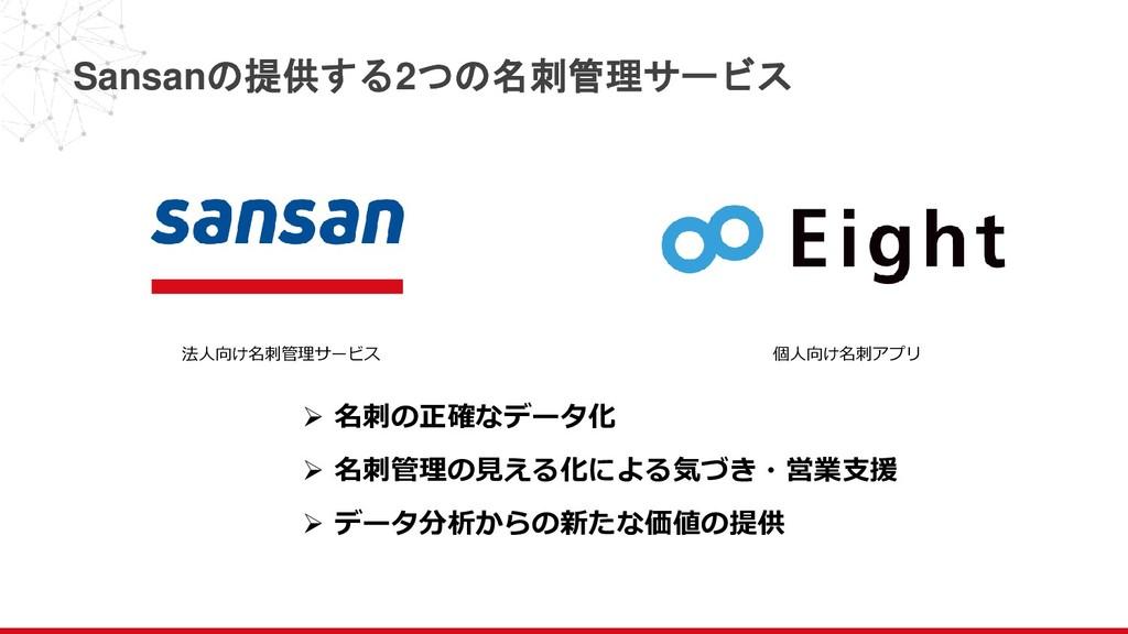 法人向け名刺管理サービス 個人向け名刺アプリ Sansanの提供する2つの名刺管理サービス ➢...