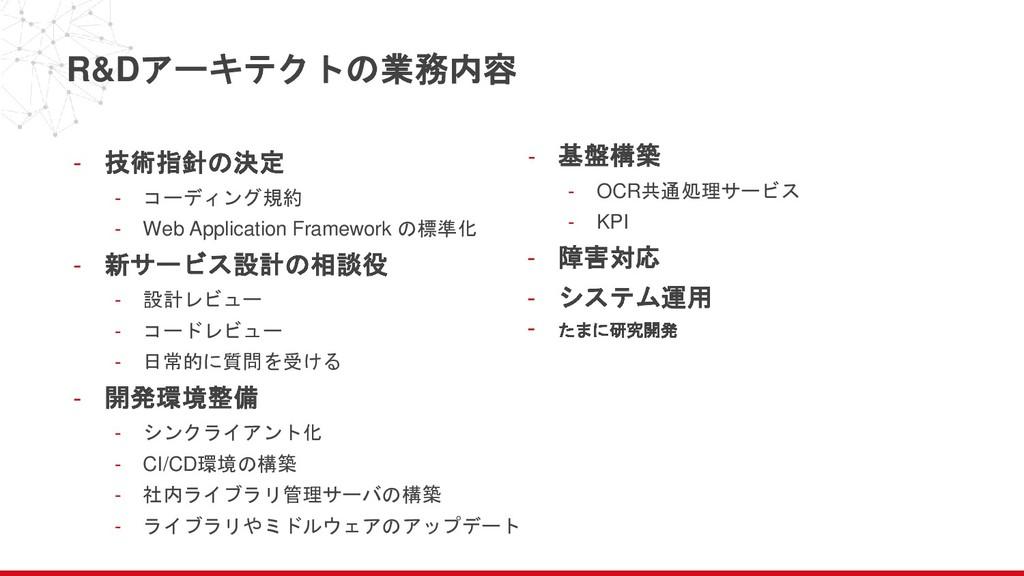 R&Dアーキテクトの業務内容 - 技術指針の決定 - コーディング規約 - Web Appli...