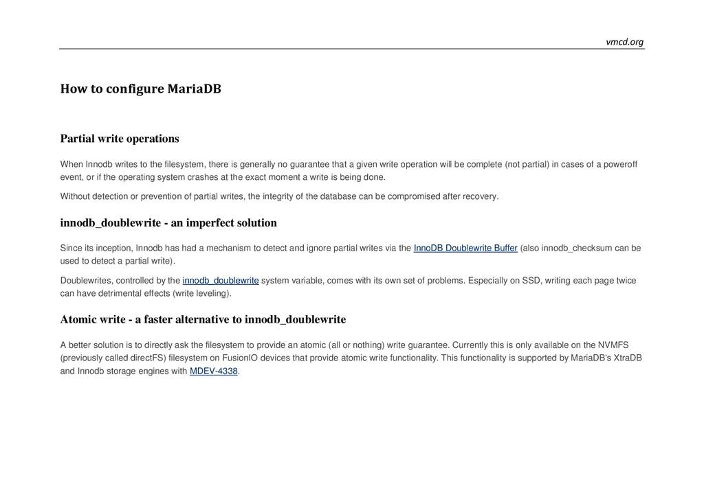 vmcd.org How to configure MariaDB Partial write...