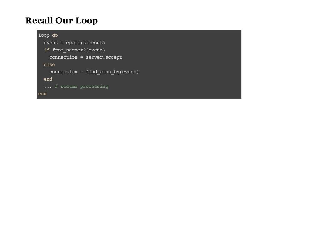 Recall Our Loop l o o p d o e v e n t = e p o l...