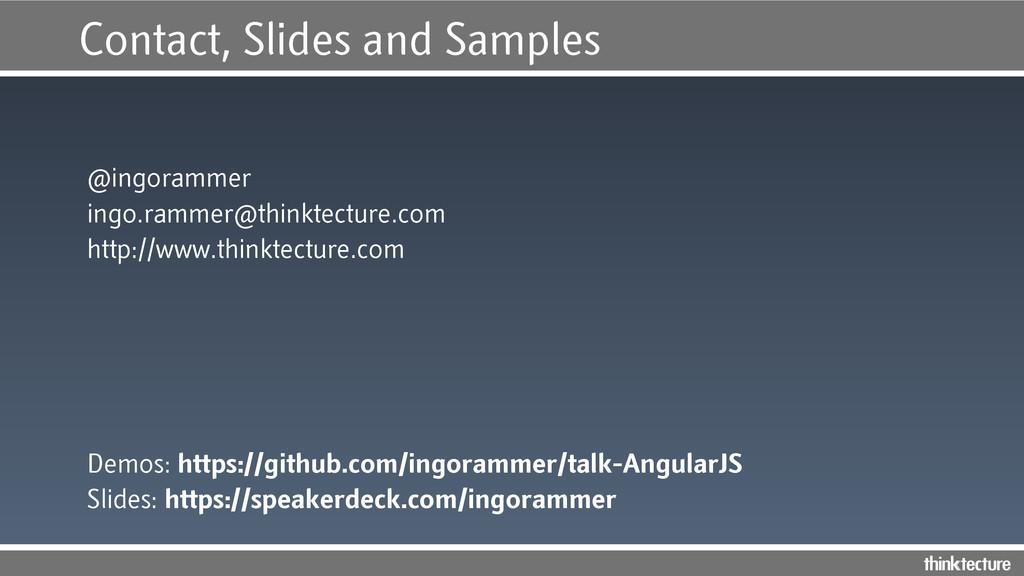 Contact, Slides and Samples @ingorammer ingo.ra...