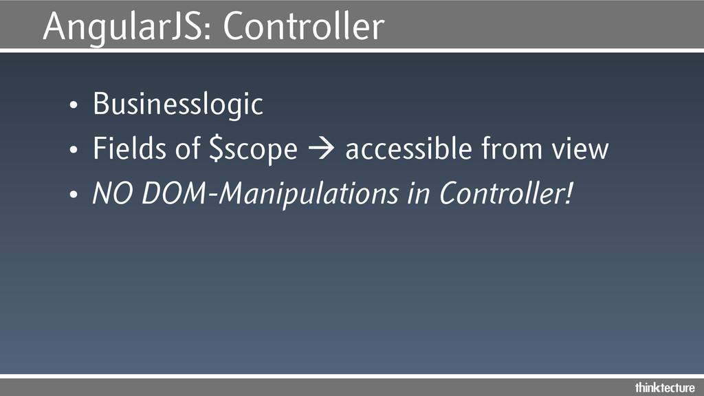 AngularJS: Controller • Businesslogic • Field...