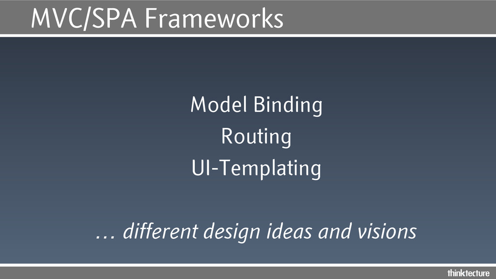 MVC/SPA Frameworks Model Binding Routing UI-Tem...