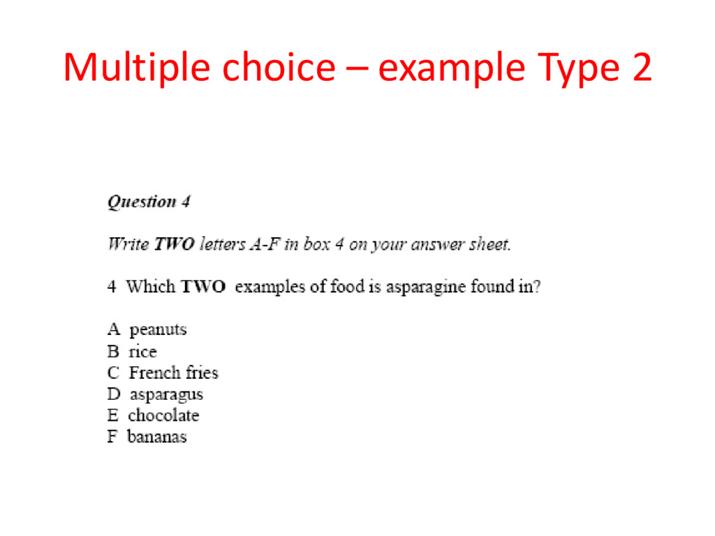 Multiple choice – example Type 2