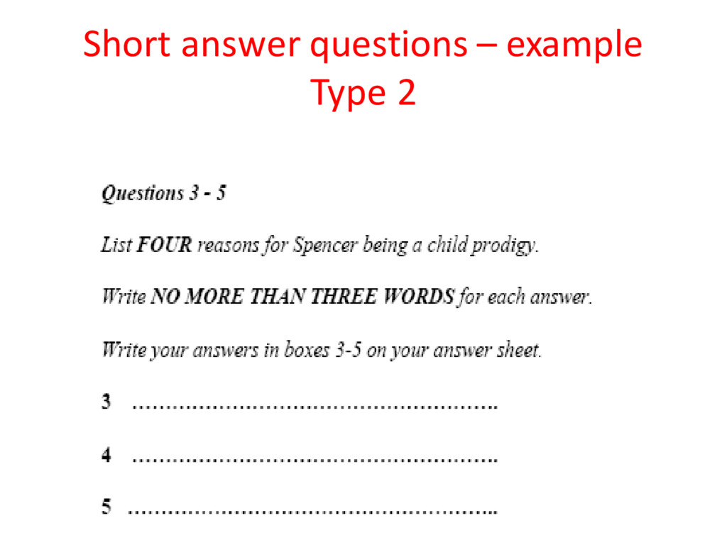 Short answer questions – example Type 2