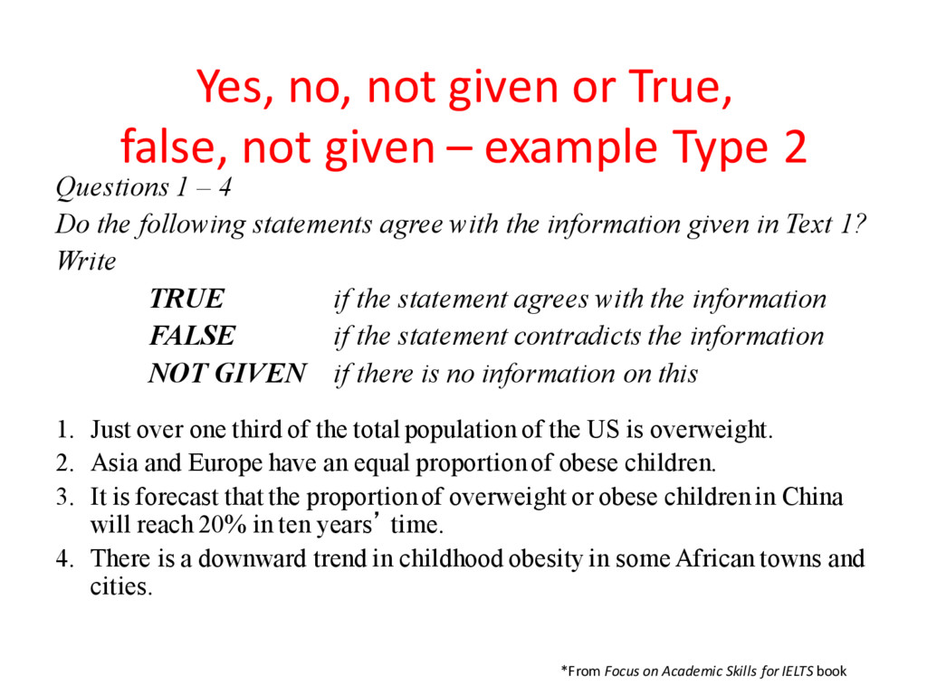 Yes, no, not given or True, false, not given – ...