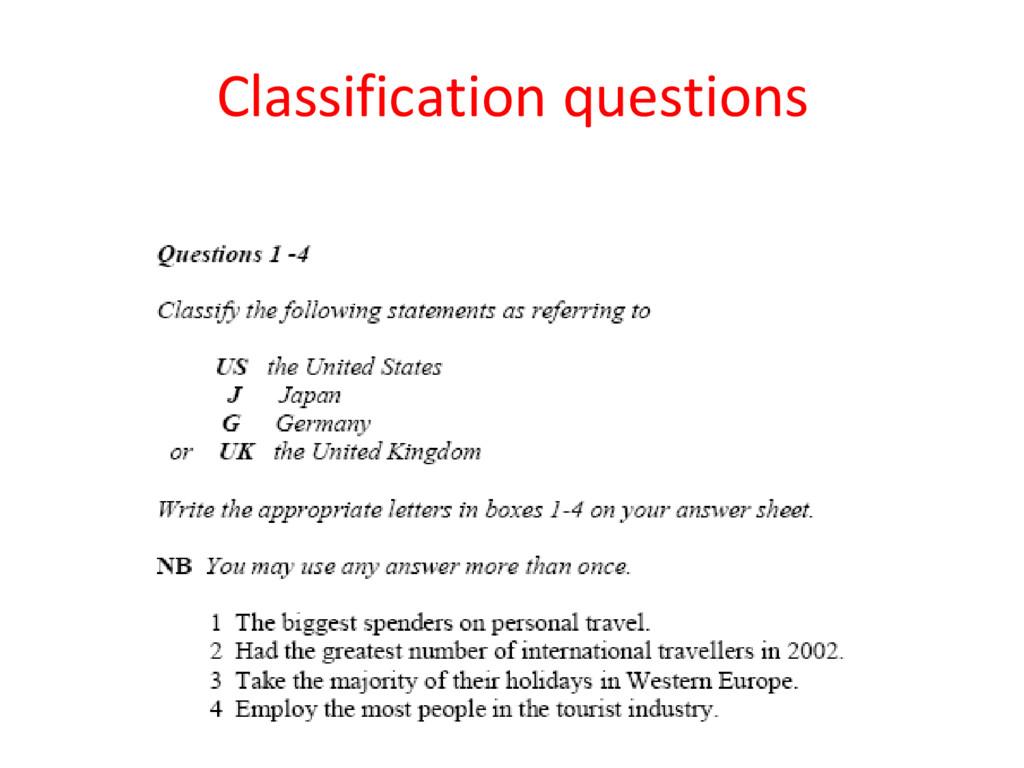 Classification questions