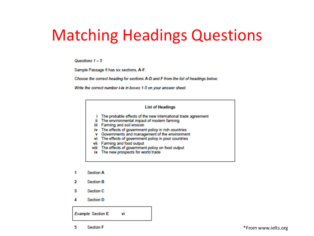 Matching Headings Questions *From www.ielts.org
