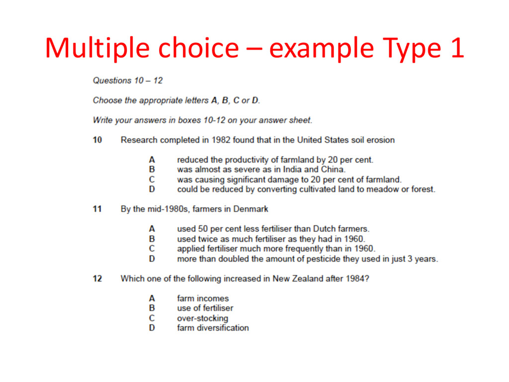 Multiple choice – example Type 1