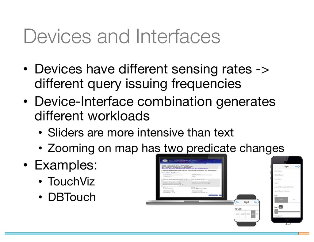 Devices and Interfaces • Devices have different...