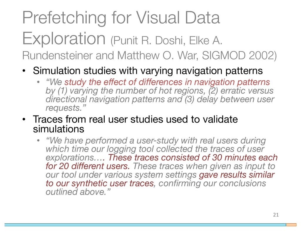 Prefetching for Visual Data Exploration (Punit ...
