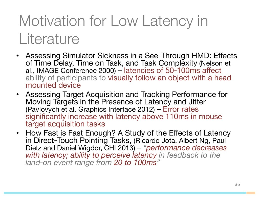 Motivation for Low Latency in Literature 36 • A...