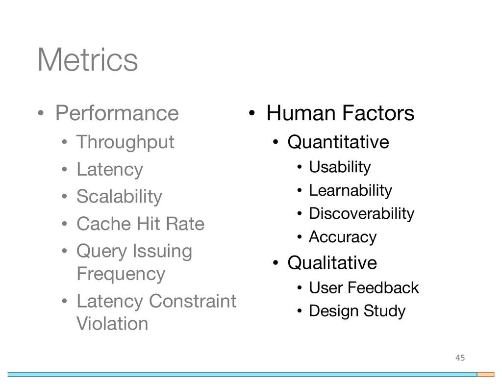 Metrics • Performance • Throughput • Latency • ...