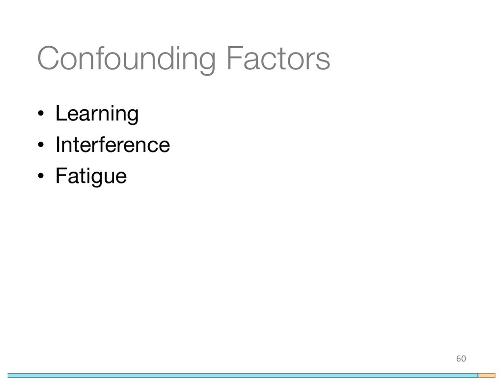 Confounding Factors • Learning • Interference •...