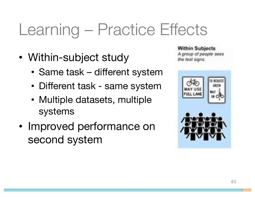 Learning – Practice Effects • Within-subject st...