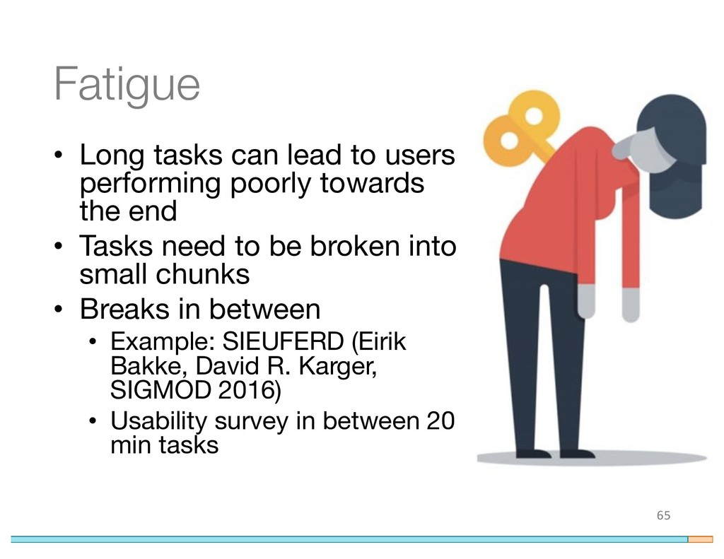 Fatigue • Long tasks can lead to users performi...
