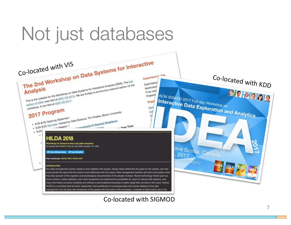 Not just databases 7 Co-located with VIS Co-loc...