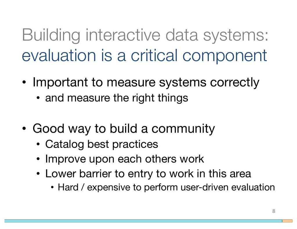 Building interactive data systems: evaluation i...