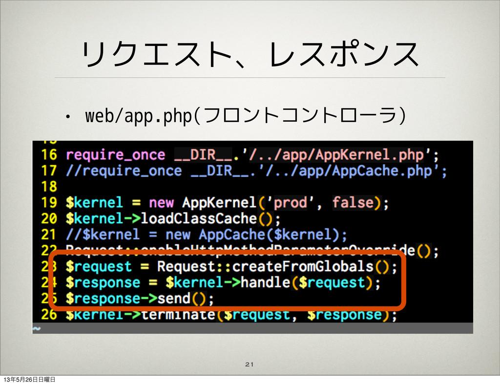 リクエスト、レスポンス • web/app.php(フロントコントローラ) 21 135݄2...