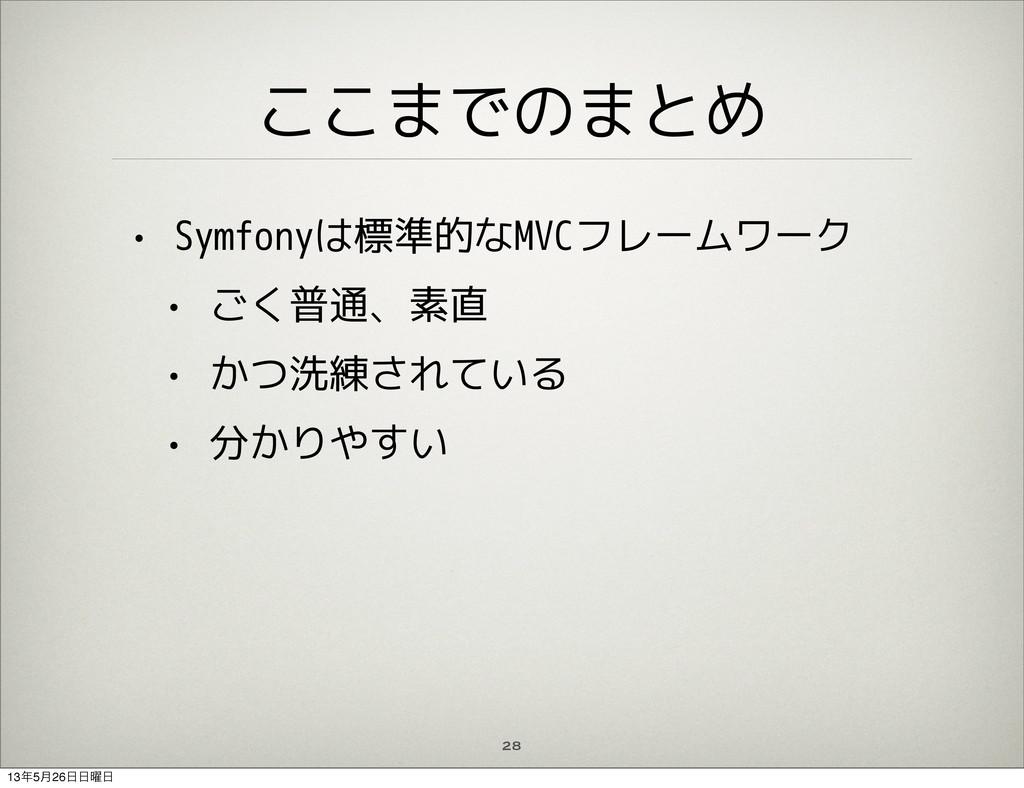 ここまでのまとめ • Symfonyは標準的なMVCフレームワーク • ごく普通、素直 • か...