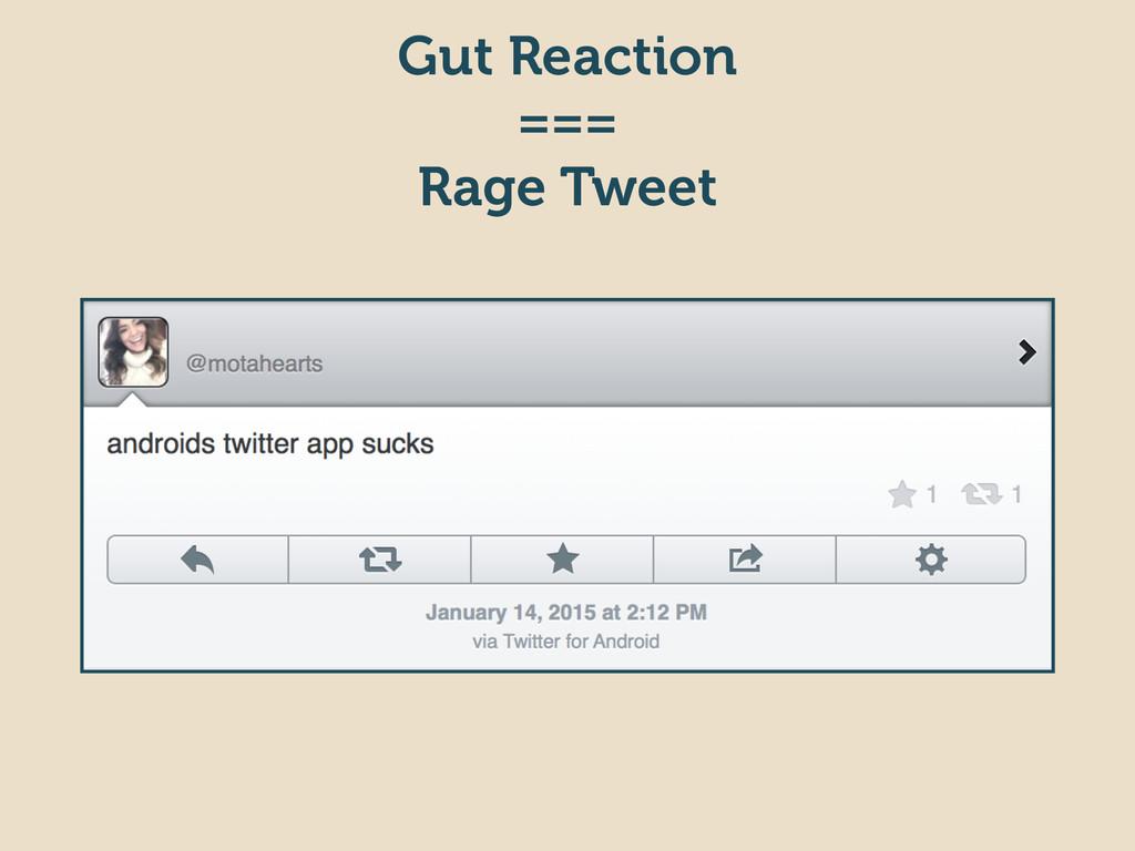 Gut Reaction === Rage Tweet