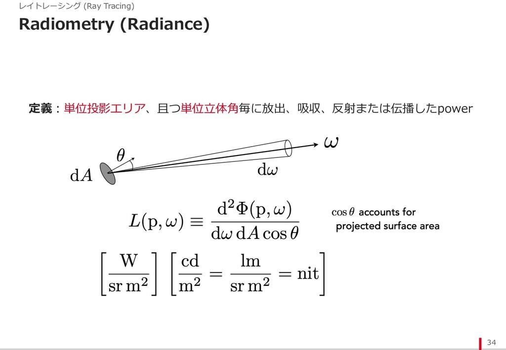 Radiometry (Radiance) 34 レイトレーシング (Ray Tracing)...