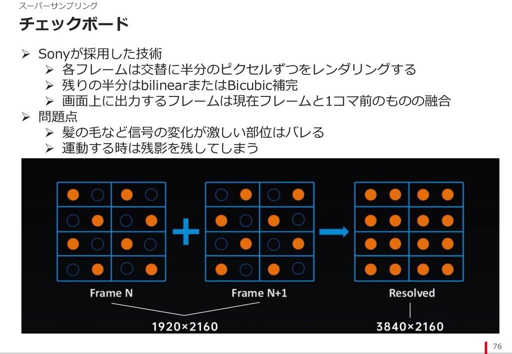 チェックボード 76 スーパーサンプリング Ø Sonyが採⽤した技術 Ø 各フレームは交替に...