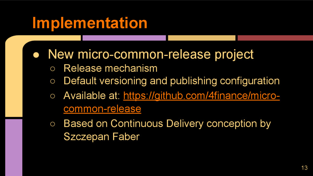 ● New micro-common-release project ○ Release me...